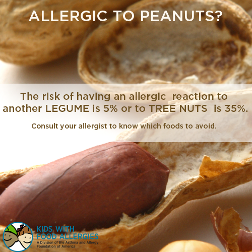 Allergic to peanuts? Your risk of having an allergic reaction to another legume is 5% or to tree nuts is 35%.