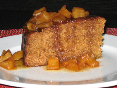 Applesauce Gingerbread with Caramel Apple